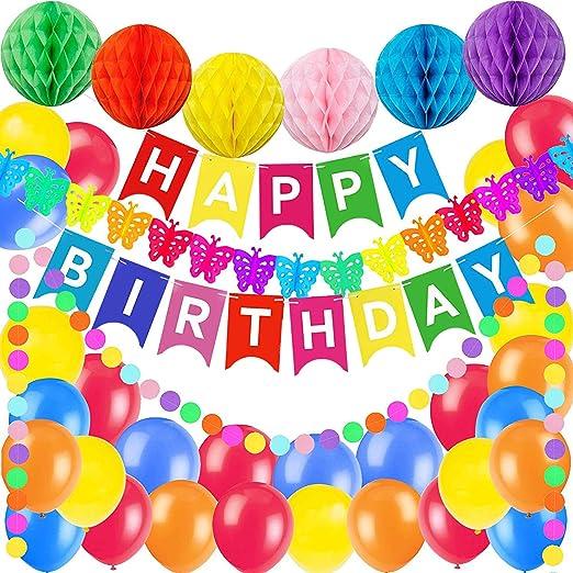 VSTON Feliz cumpleaños decoración de fiesta con forma de globo para niños, niños, adultos, con bolas de colores, 100 unids papel pompón globos ...
