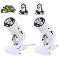 Paquete de 2 luces de lámpara UVA UVB de 50 W con bombillas, calor y luz para reptiles y tanques de anfibios, jaulas de…