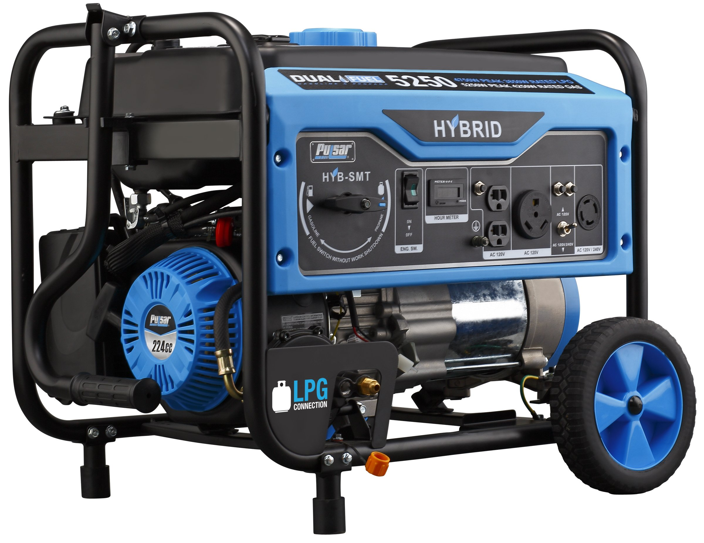 Pulsar 5,250W Dual Fuel Portable Generator With Switch
