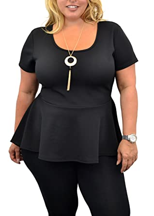 ca02e38e774 Urban Rose Womens Plus-Size Peplum Top with Short Sleeves   Necklace