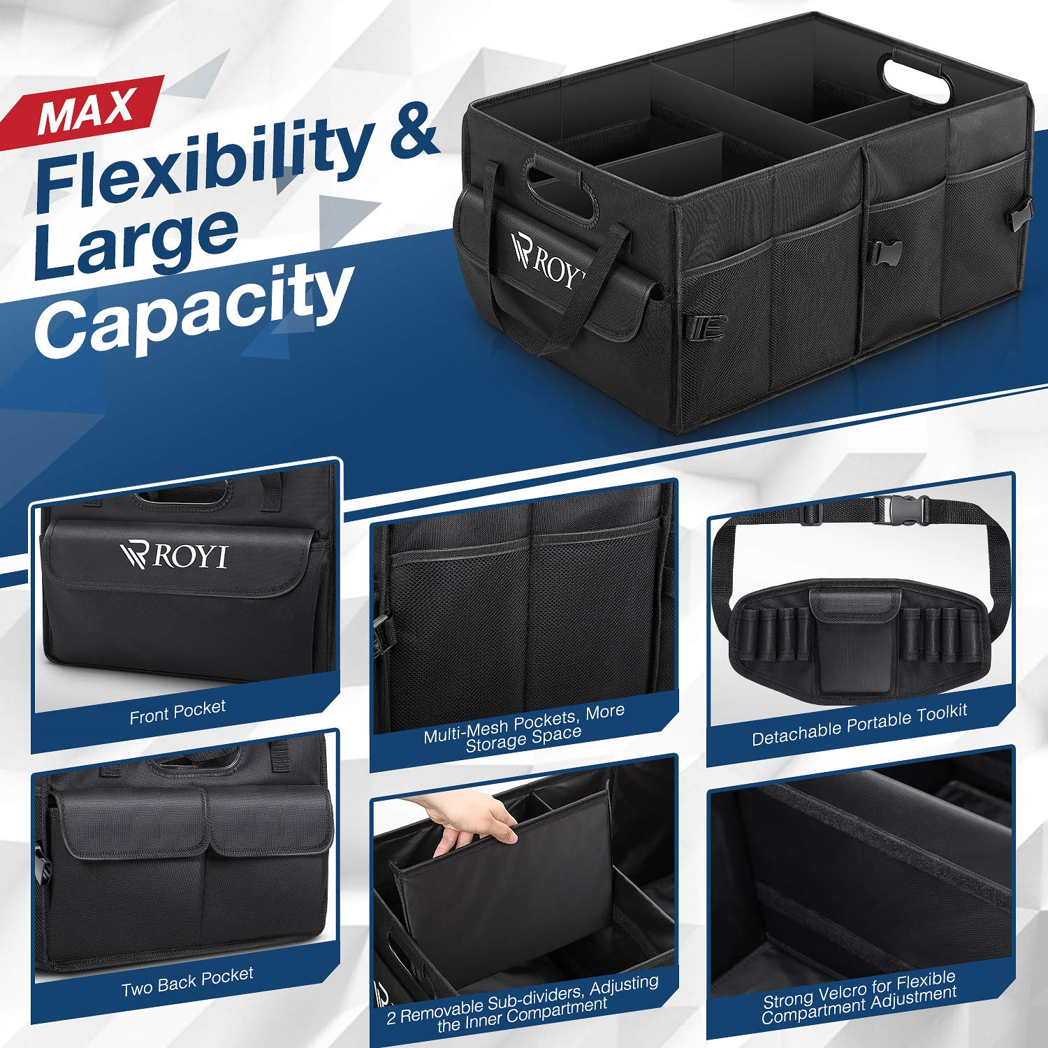 Upgraded Trunk Organizer for Car Heavy Duty Collapsible Portable Truck Bed Organizer with 4 Wider & Longer Non-Slip Bottom Strips to Prevent Sliding Bonus 1 Portable Toolkit by tomser (Image #6)