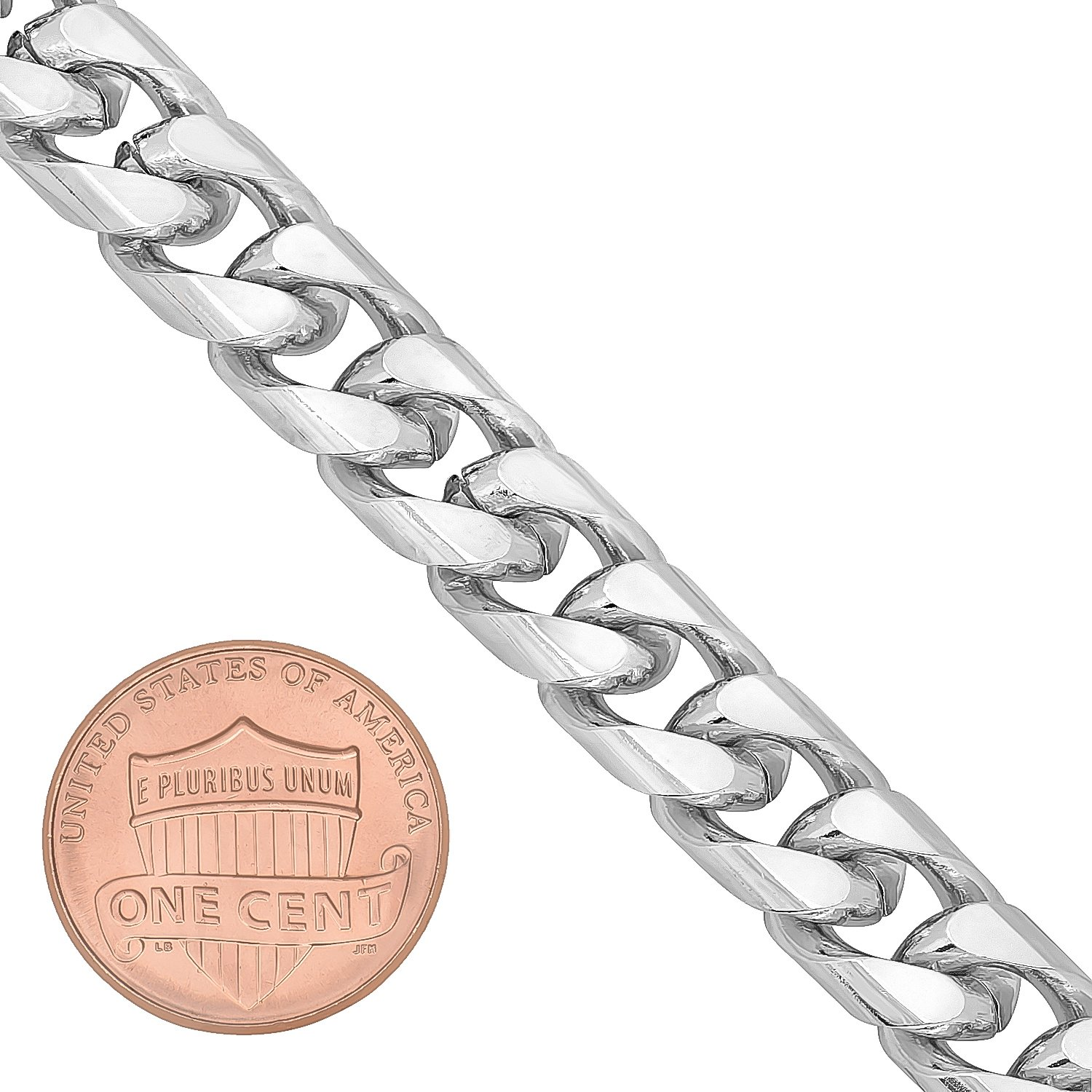 The Bling Factory 9mm Wide Rhodium Plated Smooth Miami Cuban Curb Link Chain Bracelet Microfiber Jewelry Polishing Cloth