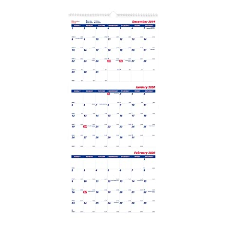 December 2017 January And February 2020 Calendar 3 Month Amazon.: Brownline 2020 3 Month Wall Calendar, 3 Months on