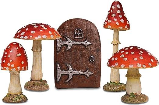 Jardín de hadas Starter Set – 4 Rojo Seta setas decorativas y puerta pequeña hada: Amazon.es: Jardín
