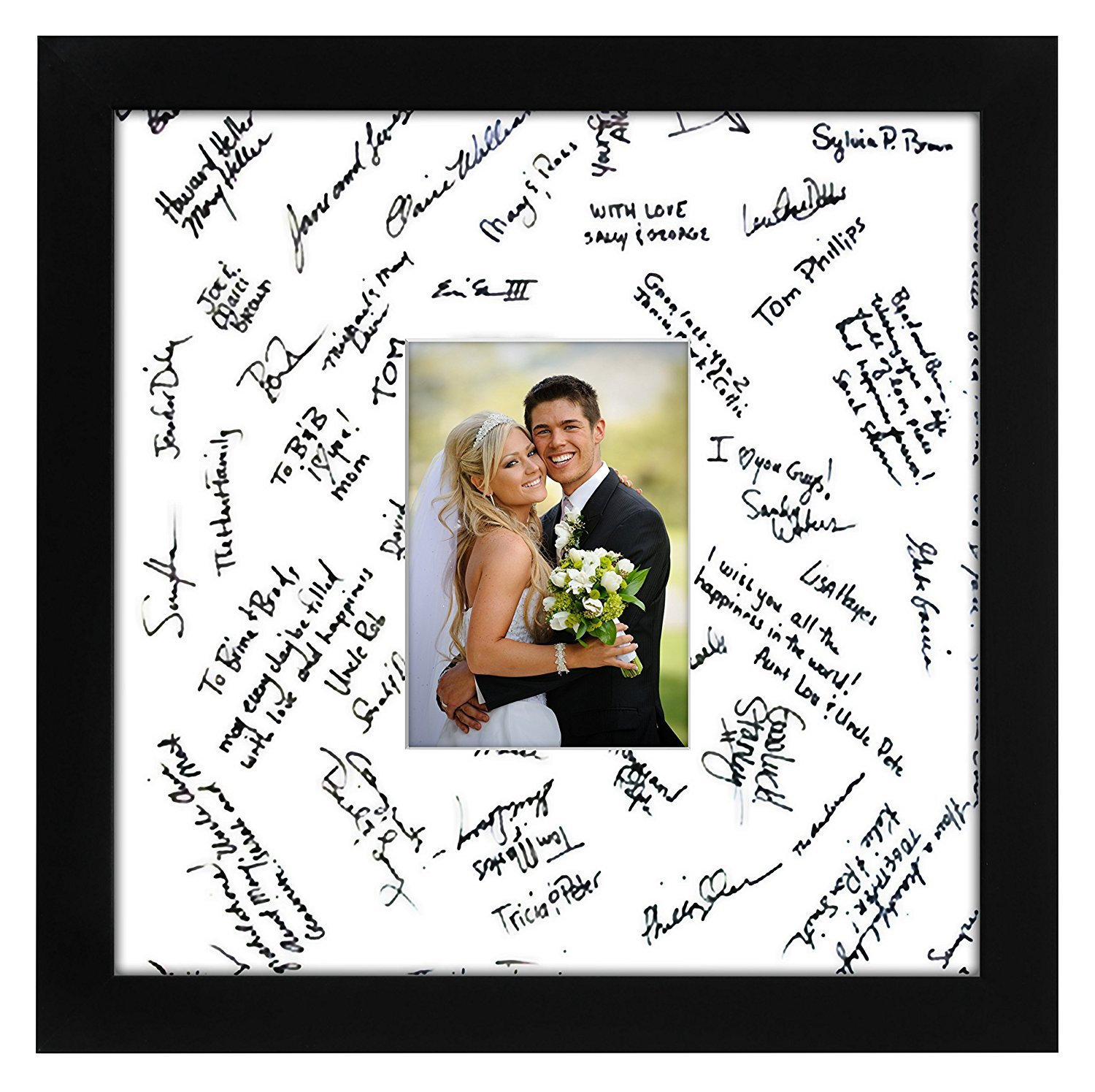 Americanflat 14x14 Wedding Signature Picture Frame - Display Pictures 5x7 or 14x14 Without Mat - Made with Glass by Americanflat