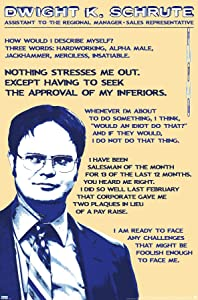 "Trends International Wall Poster The Office-Dwight Schrute-Quotes, 22.375"" x 34"", Unframed Version"