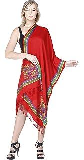SKAVIJ Chales y Wraps para vestidos de noche Bufandas rojas para mujer para el banquete de