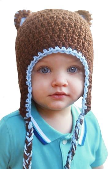Amazon.com  Melondipity s Baby Boy Bear Hat Blue Brown with Braids ... 57d8f2d7fde4