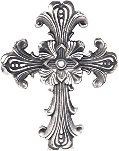 Ardour 10 Inch Antique Silver and Black Wall Cross for Home Decor.Metal Hanging Decorative Crosses Wall Decor.Cross for Wall of Crosses,Religious Home Decor