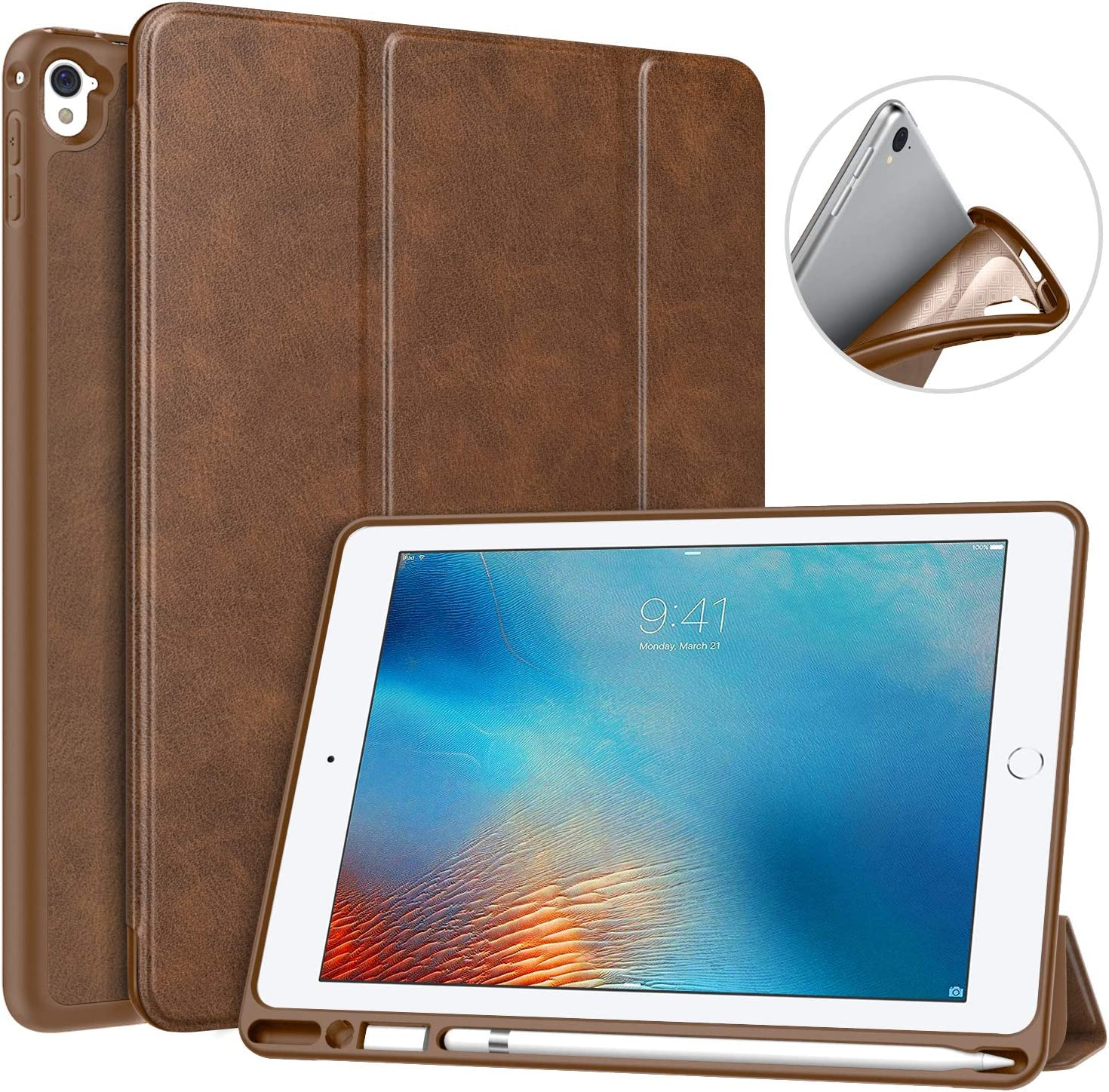 MoKo Case Fit iPad Pro 9.7 with Pencil Holder - Slim Lightweight Smart Shell Stand Cover Case with Auto Wake/Sleep Fit iPad Pro 9.7 Inch 2016 Tablet, Brown