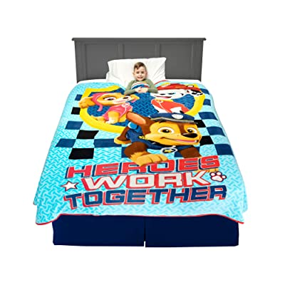 "Franco Kids Bedding Super Soft Plush Blanket, Twin/Full Size 62"" x 90"", Paw Patrol Blue: Home & Kitchen"