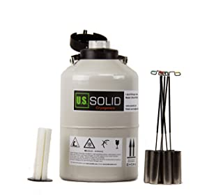 U.S.SOLID 6L Cryogenic Container Liquid Nitrogen Tank Semen Dewar with 6 Canisters Carry Bag
