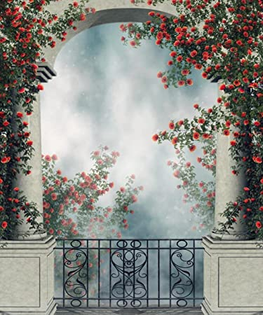 Balcony Arch Backdrop Photography Colorful Red Rose Vines Fantasy Garden Photo Backgrounds For Studio Booth Shoot