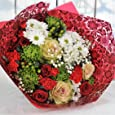 Red and Green Large Luxury Flowers Delivered - Fresh Flowers with FREE UK Next Day Delivery in a 1hr TimeSlot - Send a Beautiful Florist Arranged Gift Bouquet for Birthday Anniversary