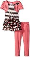 Young Hearts Little Girls' 2 Piece Mock Shoulder Dress and Legging Set