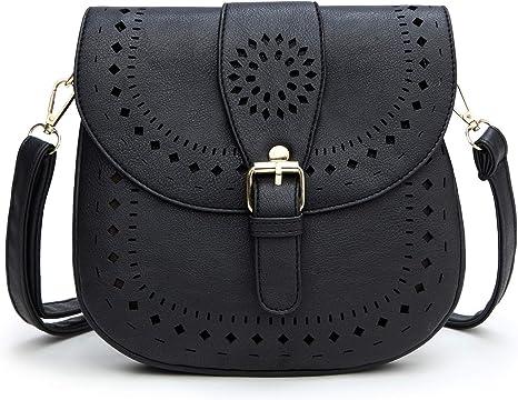 DCCN Women's Shoulder Bag PU Leather Crossbody Bag(Black)