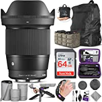 Sigma 16mm F1.4 DC DN Contemporary Lens for Sony E Mount Cameras with Altura Photo Advanced Accessory and Travel Bundle
