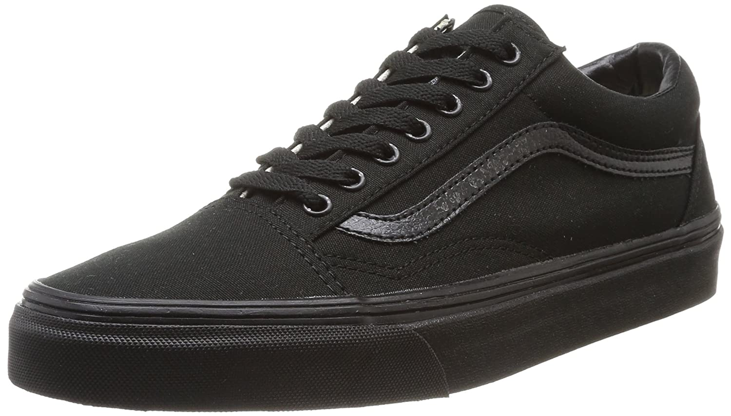 VANS Unisex Kids (C&L) Old Skool Skate Shoes, Comfortable and Durable in Sturdy Canvas and Leather Uppers B00YSUNJZQ 1 Little Kid M|(Enr) Blk/Blk