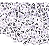 outus 800 pieces white cube beads with black alphabet letters acrylic plastic