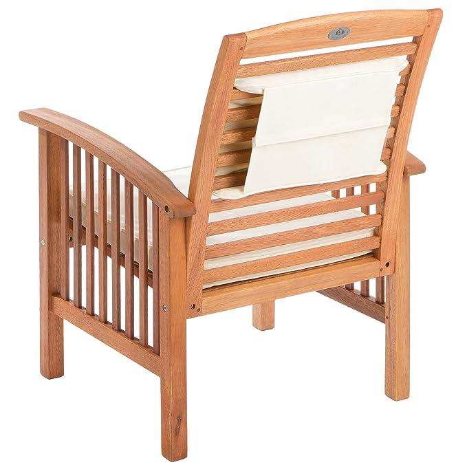 Ultranatura Set de 2 sillones lounge, serie Canberra - elegante madera de eucalipto de primera calidad con certificación FSC