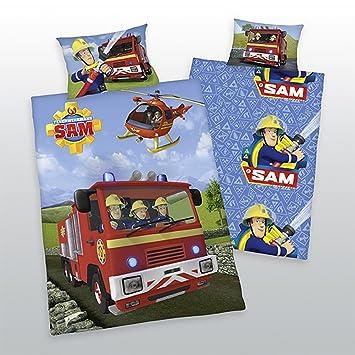 Herding Parure de lit réversible pompier Sam 40 x 60 et bébé 100 x 135 cm fdc62ba9f628
