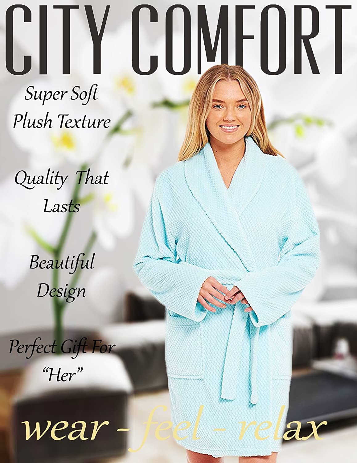 c992499d74 Ladies Dressing Gown Soft Cosy Gowns for Women Honeycomb Pattern Kimono  Fluffy Bathrobe Womens Lounge wear(Medium 12-14