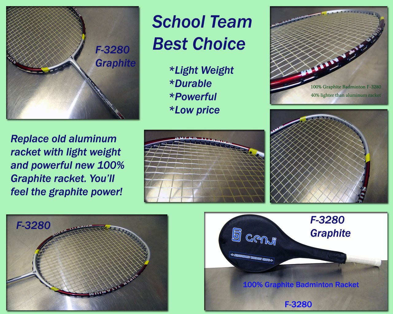 Genji Sports Graphite Badminton Rackets X-Force 3280   B005L4ZROE