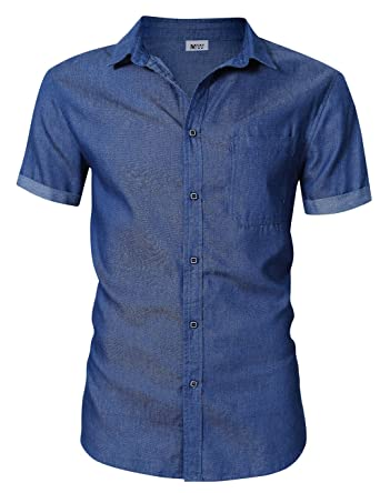 783ecc7a31e MrWonder Men s Casual Slim Fit Button Down Shirt Short Sleeve Denim Shirts  Light Blue 2XL