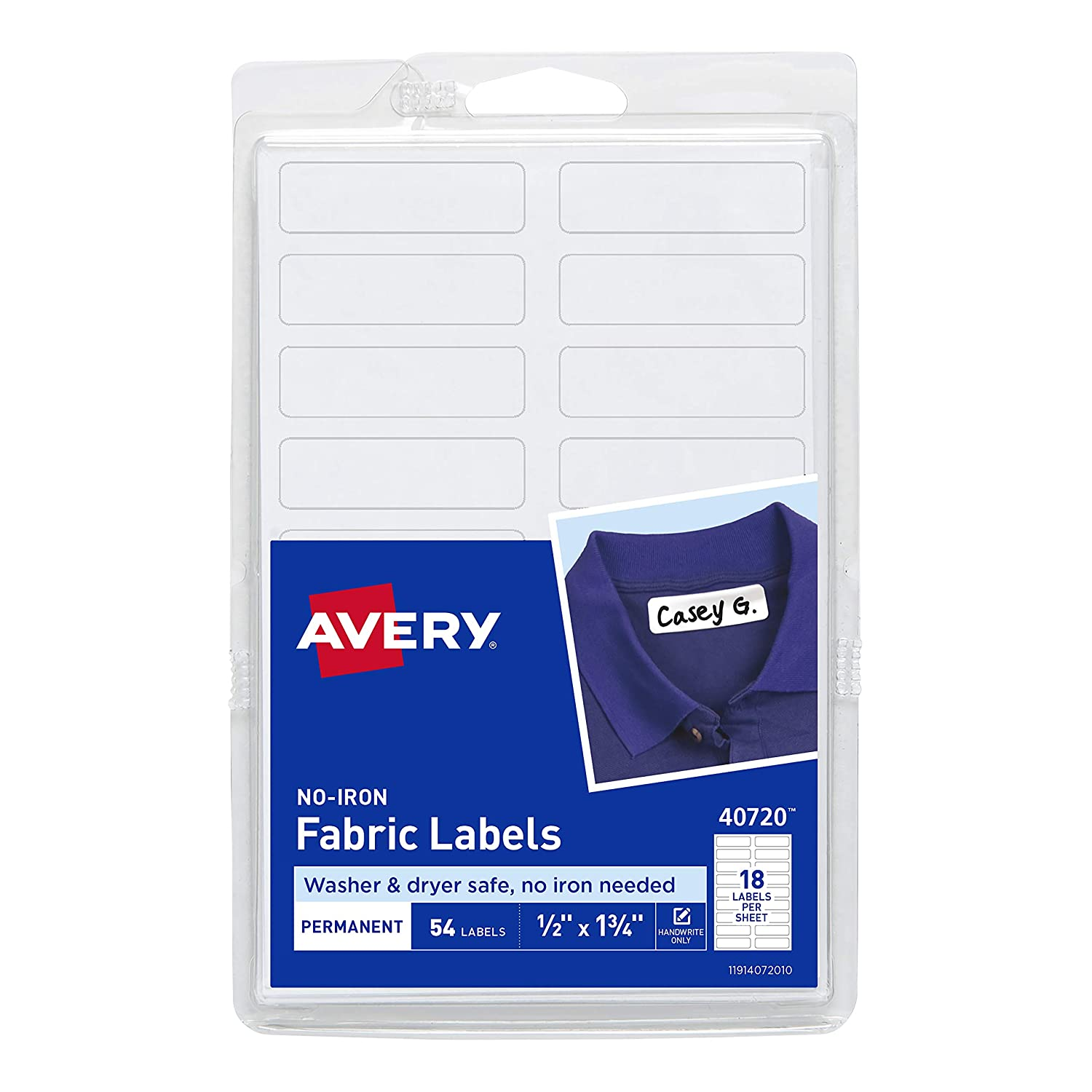 Avery No-Iron Fabric Labels, Washer & Dryer Safe, Handwrite, 1/2 x 1-3/4 Pack of 54 (40720)