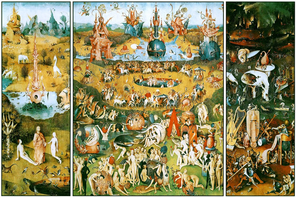Hieronymus Bosch Garden of Earthly Delights Triptych Art Print Poster 12x18