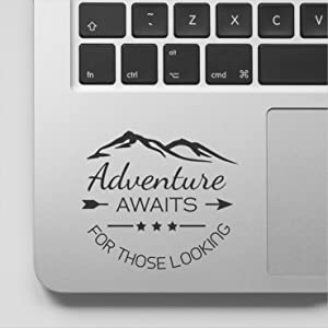 Adventure Awaits Those Looking Quote Motivational MacBook Decal Inspirational Laptop Sticker Quote Compatible with MacBook Retina, MacBook Air, MacBook Pro Wicked Decals