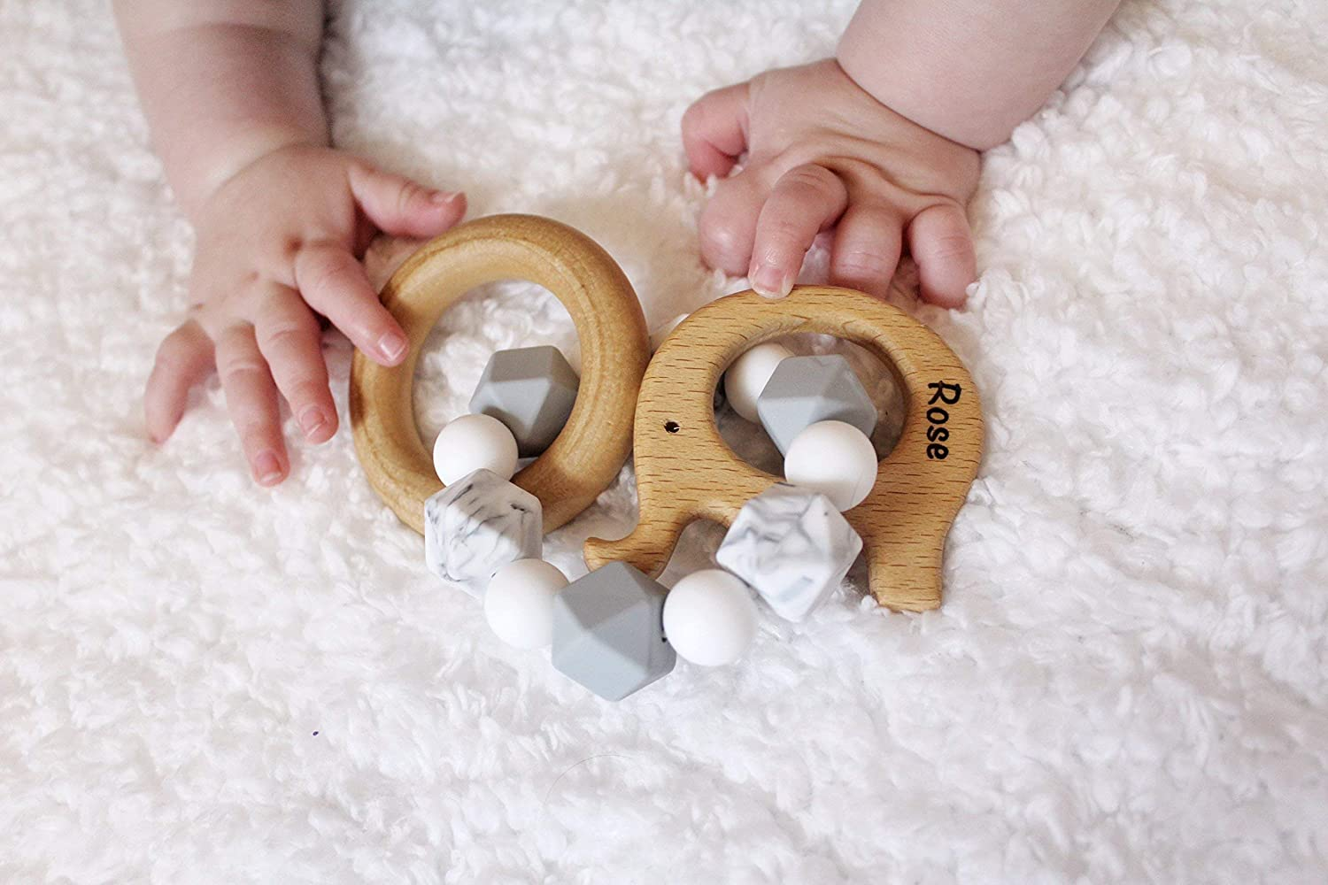ENGRAVED Greyscale Animal Teether Rattle (Choose Your Animal!)