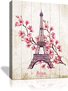 Pink Flowers Paris Eiffel Tower Wall Decor for Bedroom Room Bathroom Wall Art Modern Home Artwork for Walls Canvas Art Wall Decoration Framed Size 12x16 Panel