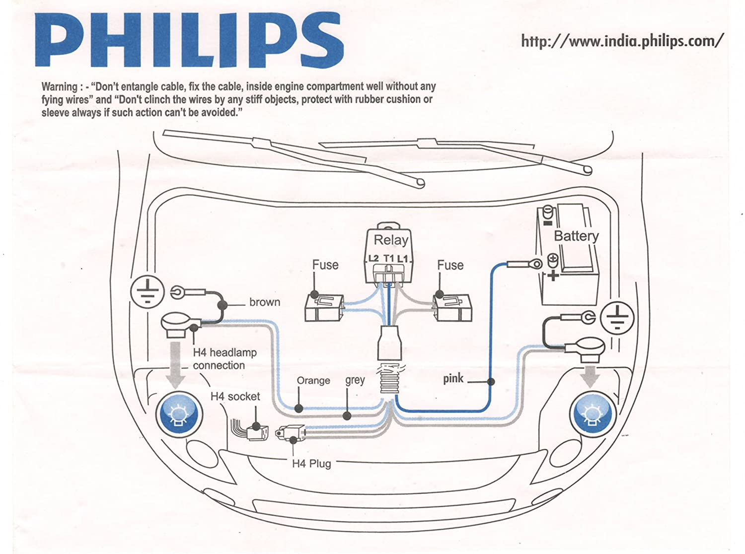 Santro Complete Wiring Diagram Bookcomplete Hyundai I10 Sl1500 Philips 12003xm H4 Heavy Duty Relay Kit For High Power At Cita