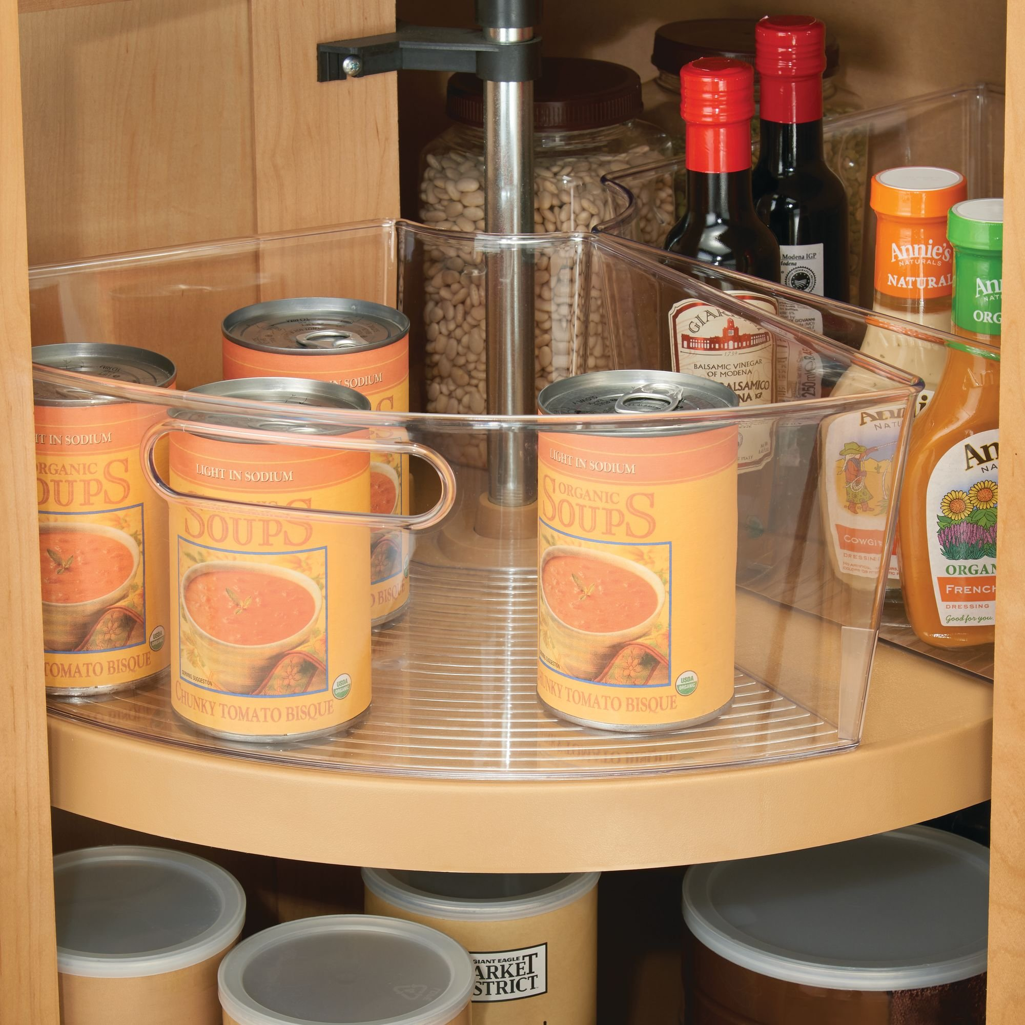 mDesign Kitchen Cabinet Plastic Lazy Susan Storage Organizer Bins with Front Handle - Large Pie-Shaped 1/4 Wedge, 6'' Deep Container - Food Safe, BPA Free - Set of 4, Clear by mDesign (Image #4)