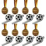 Kaufen-schenken-spielen 8 Fußball-Trillerpfeifen + 8 Gold Medaillen !