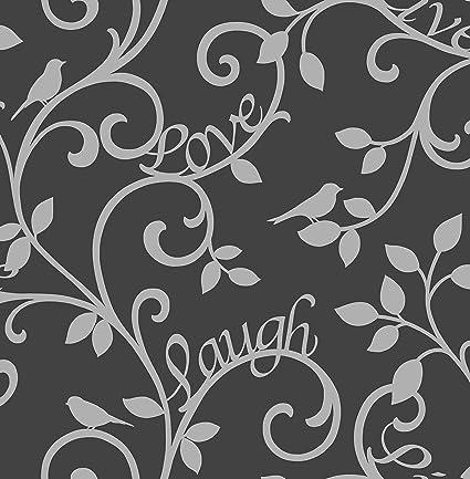 Bhf Fd40287 Live Love Laugh Scroll Black Silver Wallpaper Set Of 2