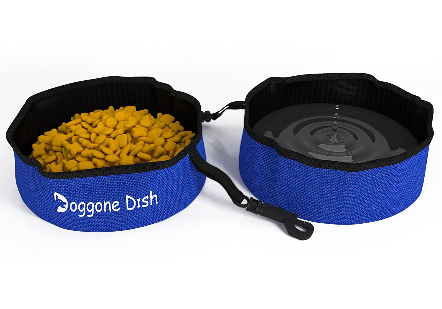 Collapsible Travel Pet Bowl 2 Pack for Water and Food, Set of 2 Portable Dog or Cat Bowls by Dog-Gone Dish