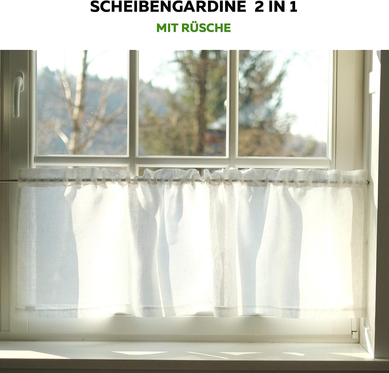 cm Wei/ß, 145 x 45 Bistrogardine aus Leinen K/üchegardine H Varvara Home Leinen Scheibengardine B Kurze Gardine f/ür K/üche