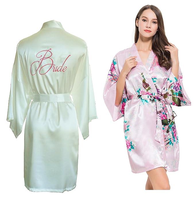 Fete fabuloso Set de 2 satén Kimono bata/robes- 1 marfil bordado