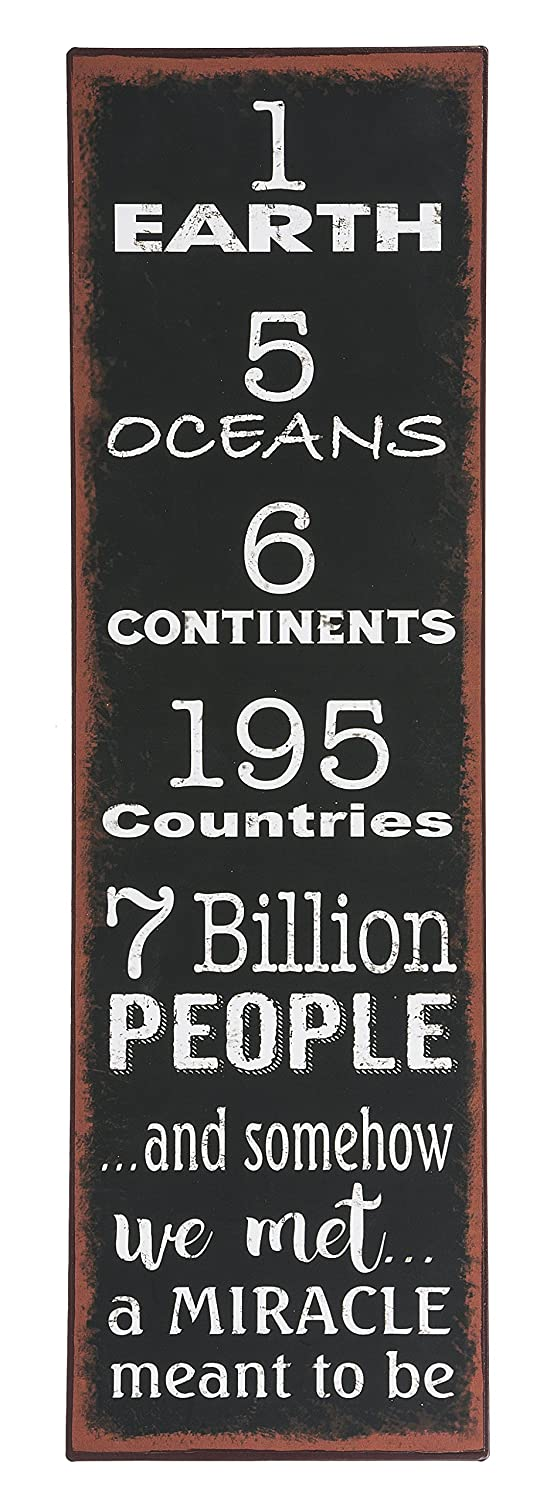 Word Art Wall Decor 1EARTH 5 OCEANS 6CONTINENTS.7BILLION PEOPLE.AND SOMEHOW WE MET