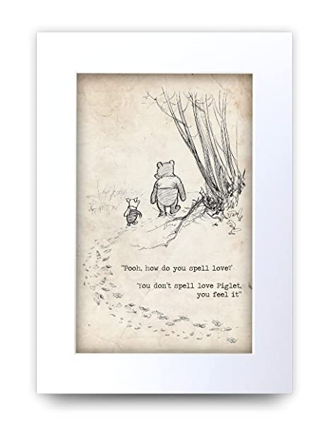 HWC Trading FR Winnie the Pooh Friends Forever A4 Framed Printed Quote Nursery Print Baby Shower Room Gifts New Born Bedroom Gift Print Photo Picture Frame Display