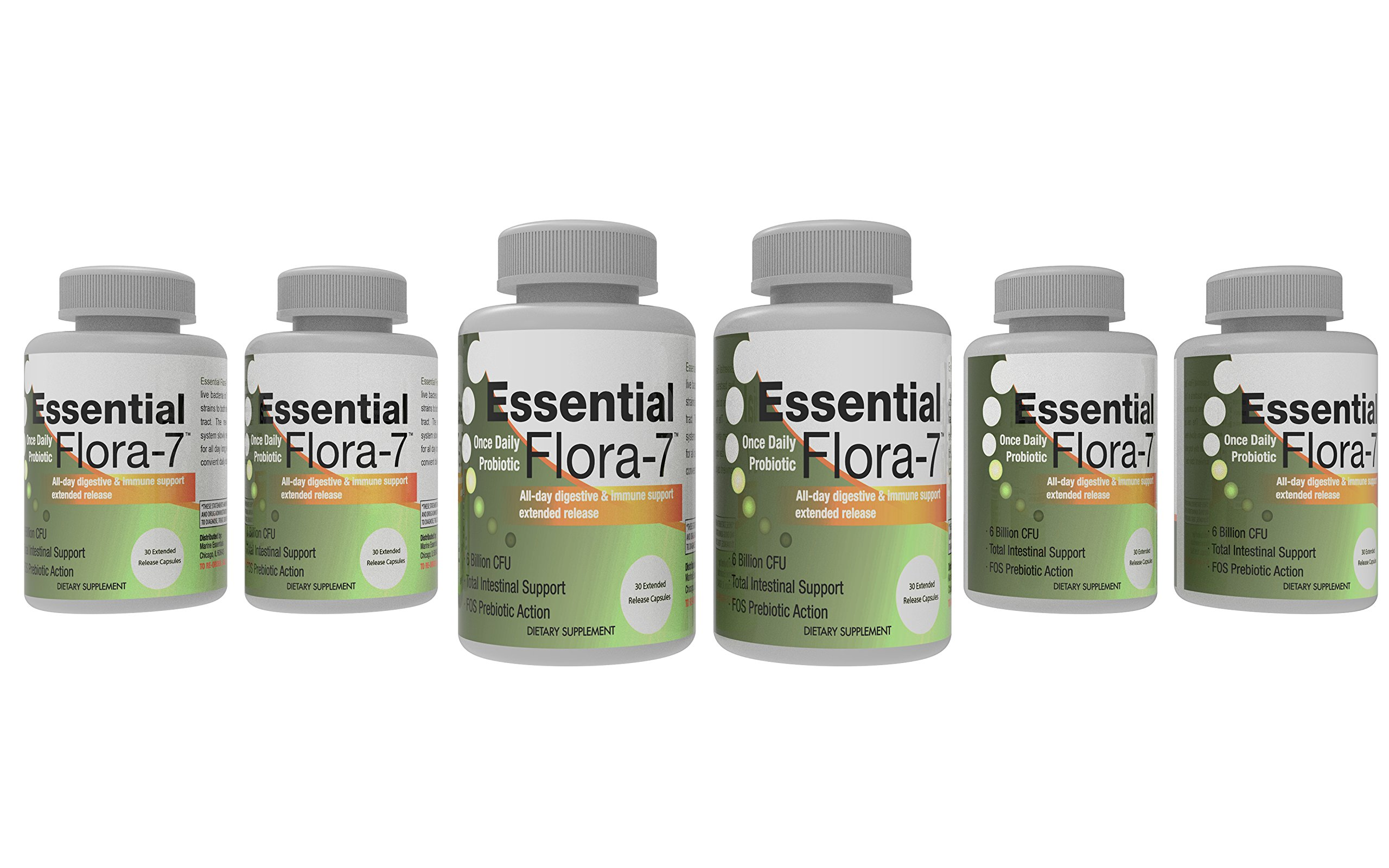 Essential Flora-7 Probiotic 700mg with L Acidophilus for Intestinal Health (30 Time Release Caps) 6 Months
