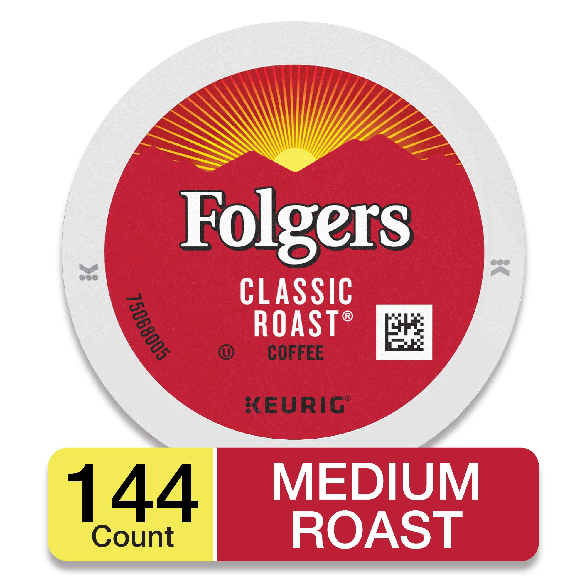 Folgers K Cups Classic Roast Coffee for Keurig Makers, Medium Roast, 144 Count by Folgers