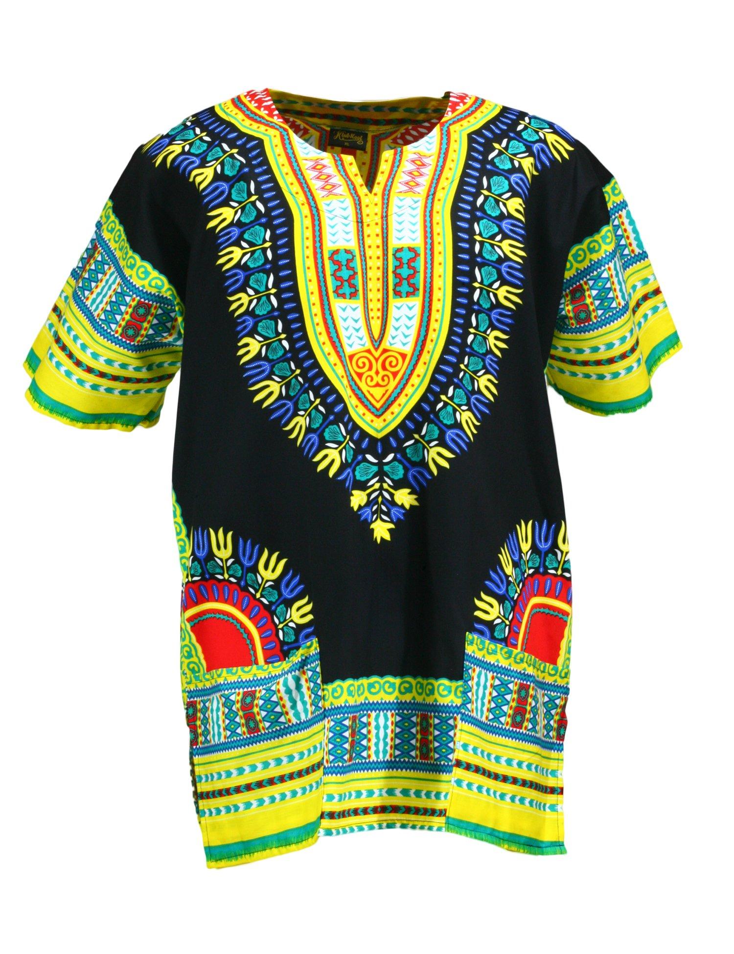 KlubKool Dashiki Shirt Tribal African Caftan Boho Unisex Top Shirt (Black/Yellow/Green,Medium)