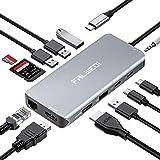 Falwedi Triple Display 12 in 1 USB C Hub with 2 HDMI, PD3.0, Ethernet, SD TF Card Reader, 4 USB-A, USB-C Data Port, Mic/Audio
