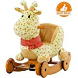 Labebe Baby Rocking Horse Wooden, 2 In 1 Plush Rocking Horse with Wheels, Yellow Giraffe Rocker for Baby Up 7 Months, Giraffe Rocking Horse/Giraffe Baby Rocker/Animal Rocker Toy/Infant Rocking Horse