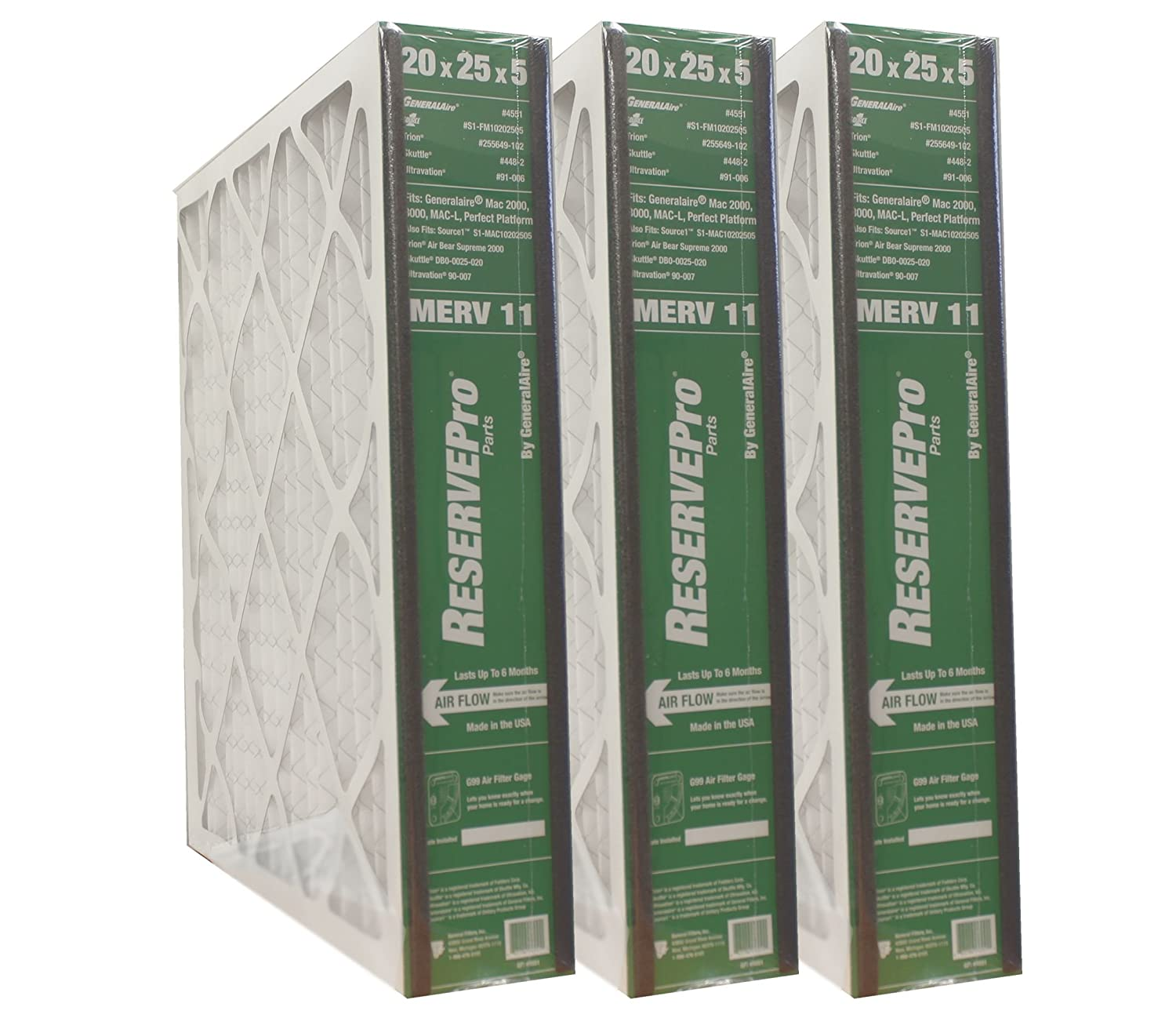 """3-PK ReservePro 4551 (old #4501) 20""""x25""""x5"""" Air Filter-Actual Size= 19 5/8"""" x 24 3/16"""" x 4 15/16""""- 6FM2025"""