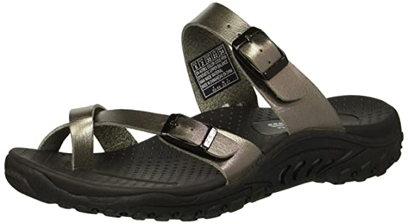 Skechers Women's Reggae-Wishlist-Double Buckle Toe Thong Slide Sandal Pewter 6 M US