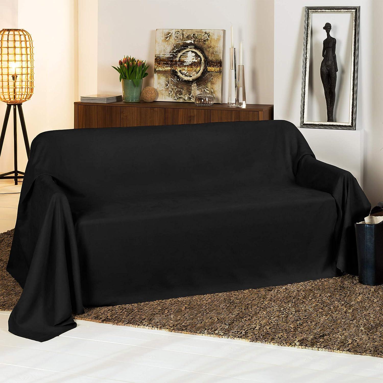 Beautissu Manta Romantica 210x280 cm en óptica de piel de ante como cobertor de sofá manta de día Plaid en negro